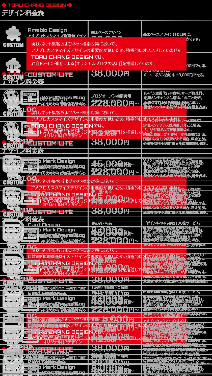 デザイン料金表【TORU CHANG DESIGN】オシャレなデザインで未来を変える|WordPressブログ・ホームページ・WEB制作|ロゴマーク|SEO・Google対策|ネット集客・サロン集客